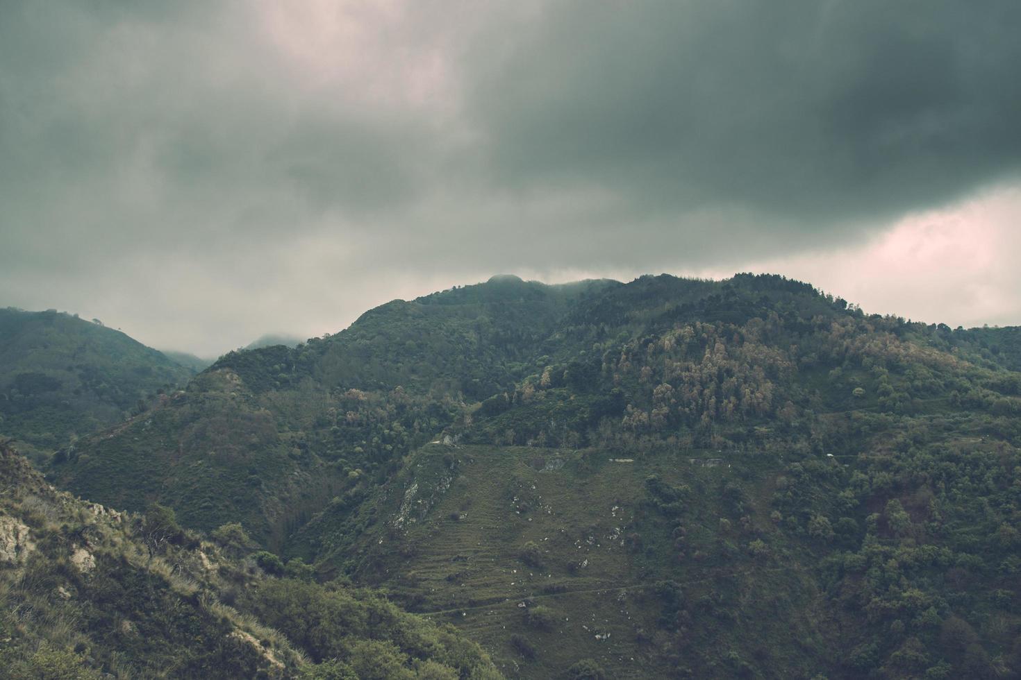 Foggy mountain view photo
