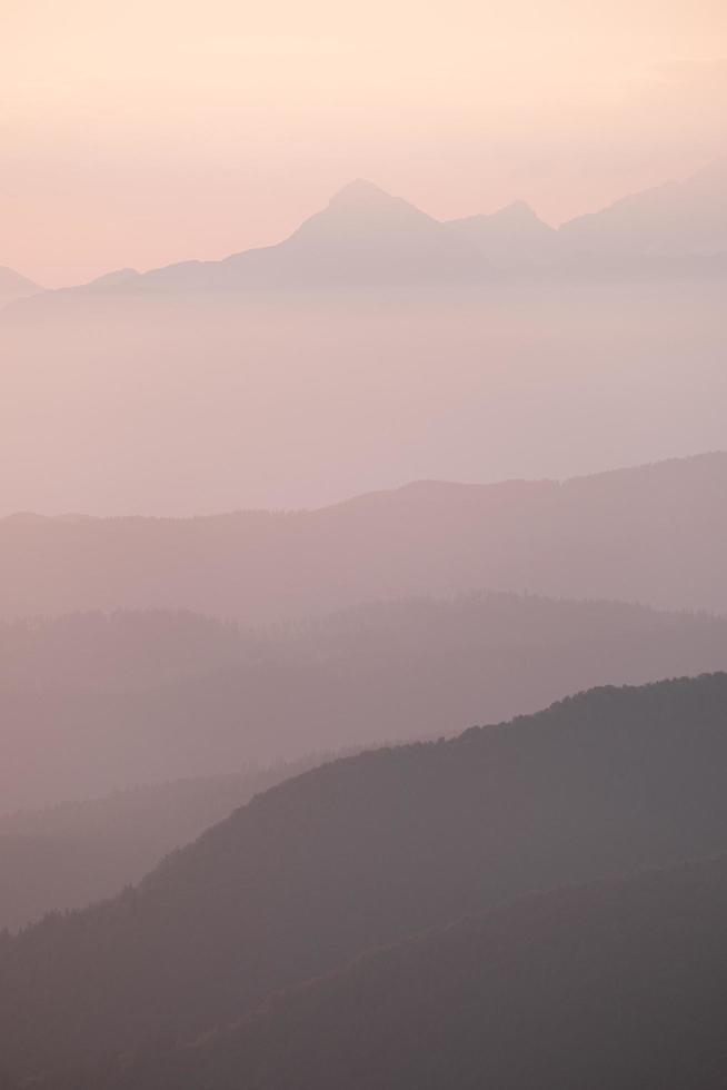Silhouette of mountains during sunset photo