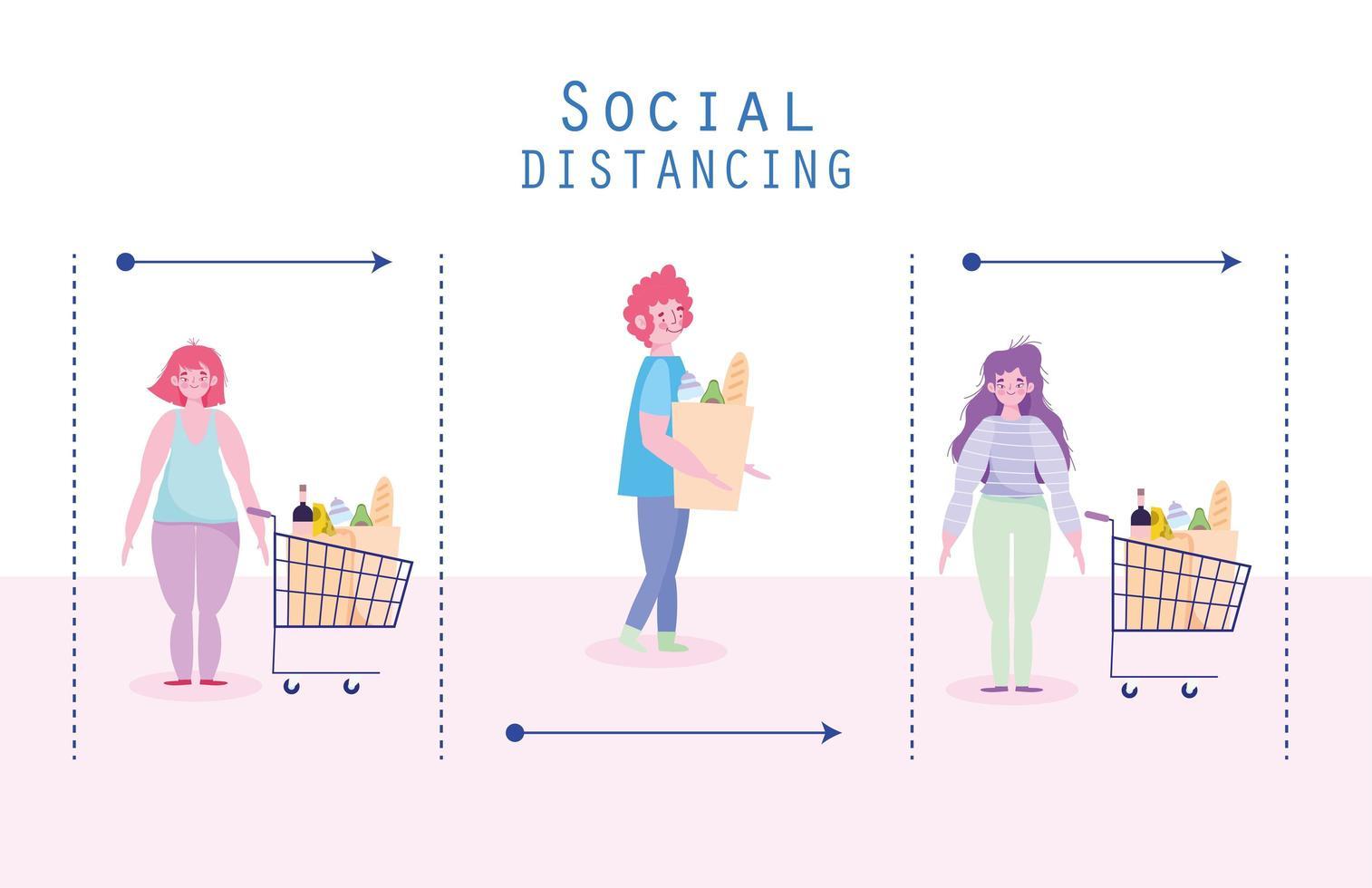 Supermarket social distancing vector