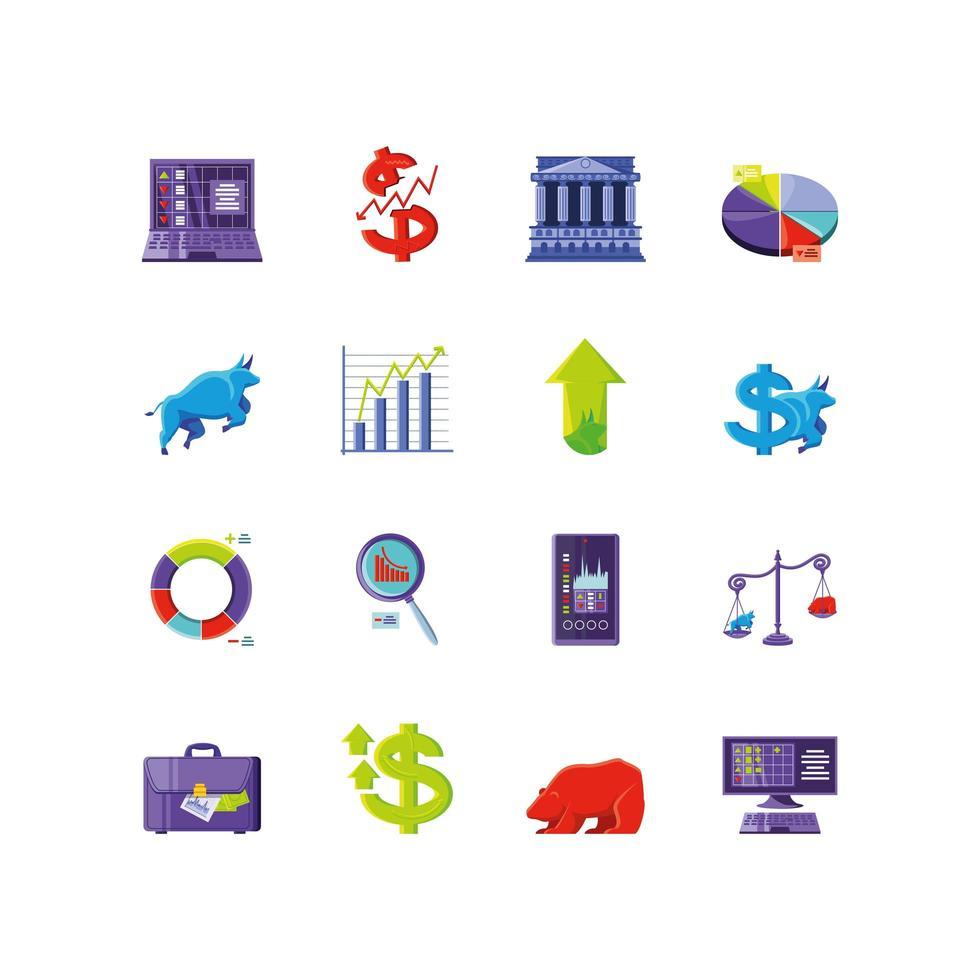 conjunto de iconos del mercado de valores vector