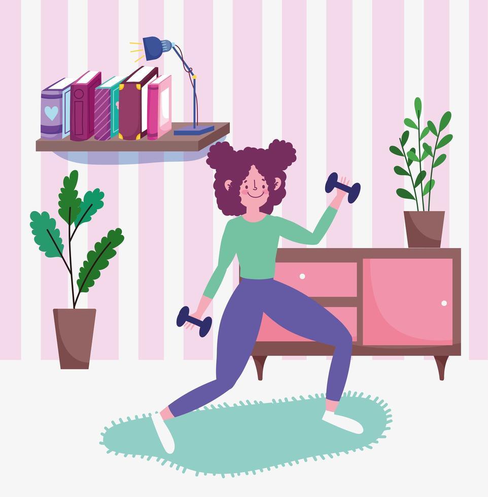 Adolescente levantando pesas en la habitación vector