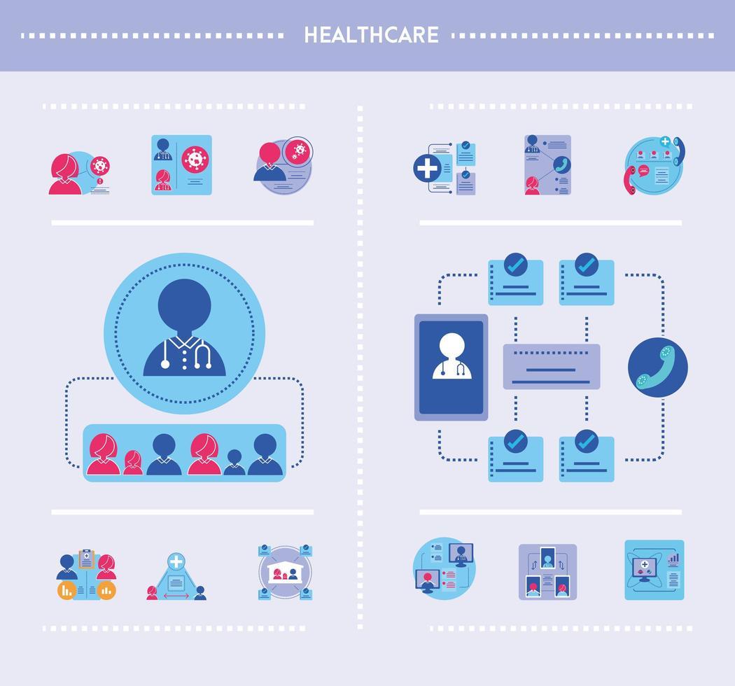 infografías de salud con conjunto de iconos vector