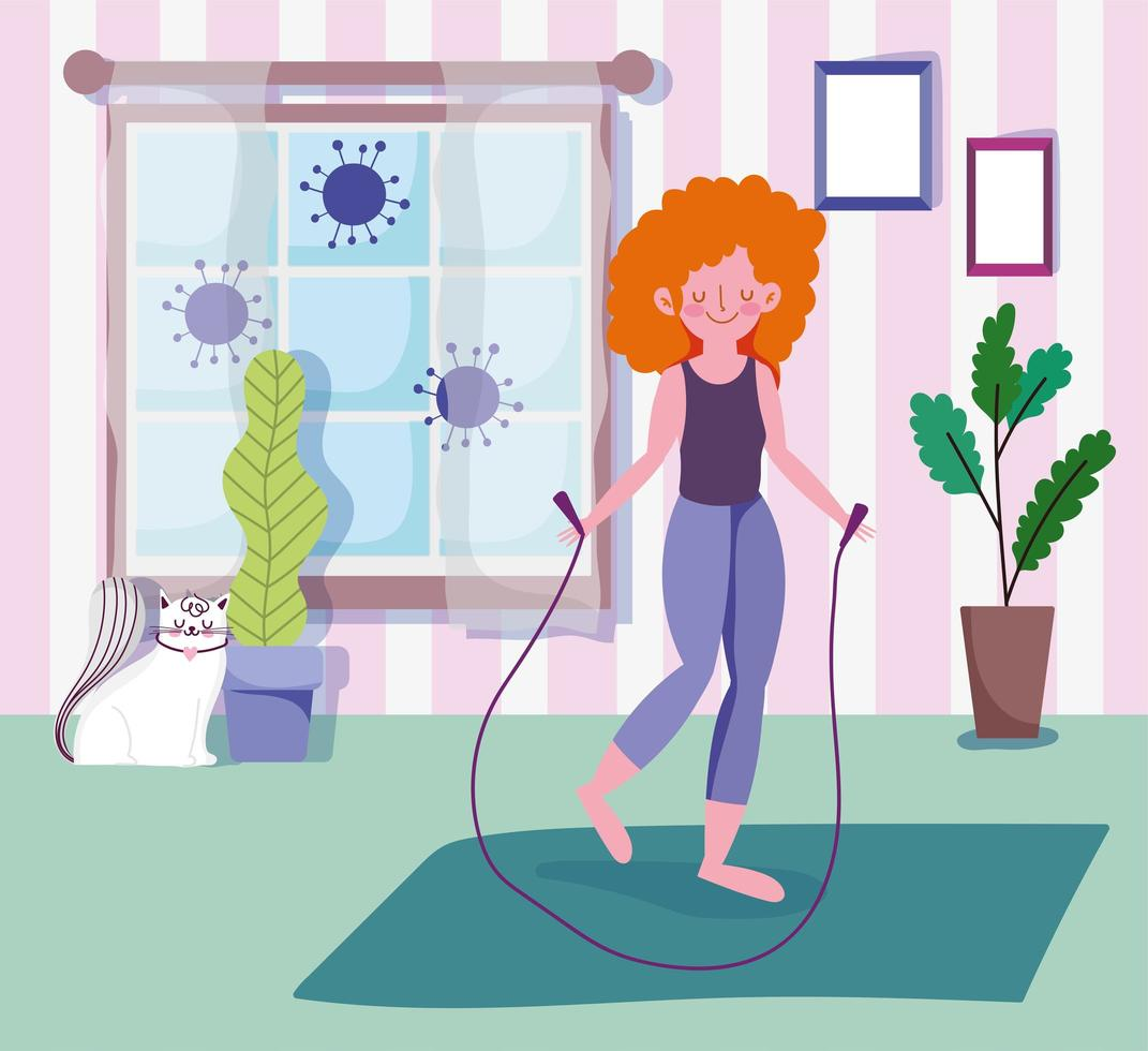 mujer joven, con, saltar la cuerda, en, habitación vector