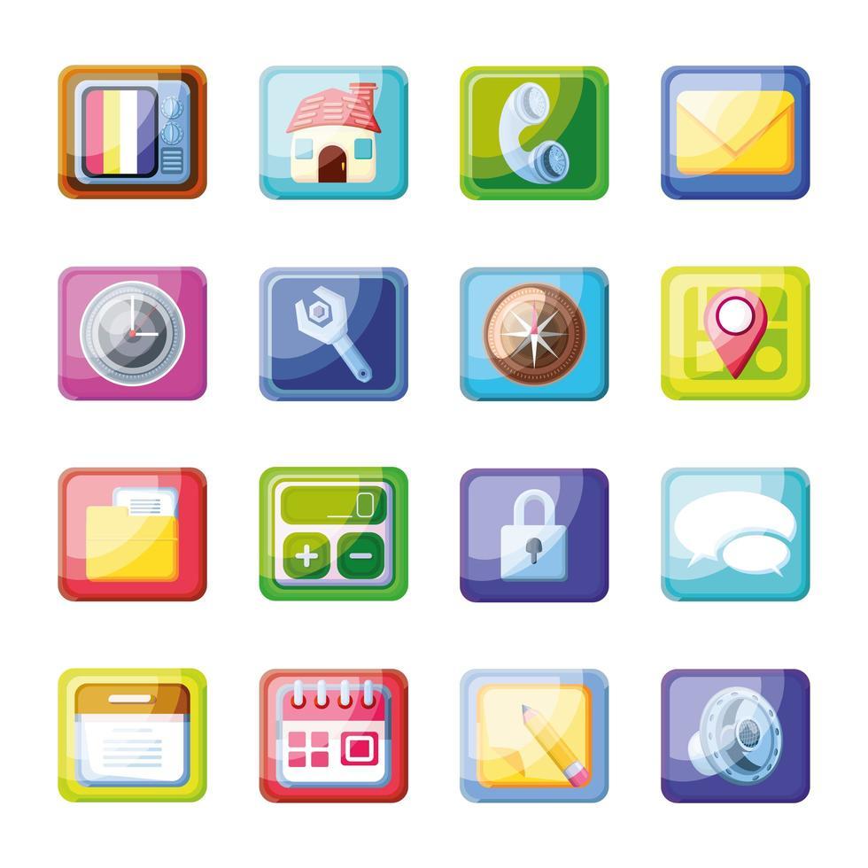iconos modernos de aplicaciones móviles vector