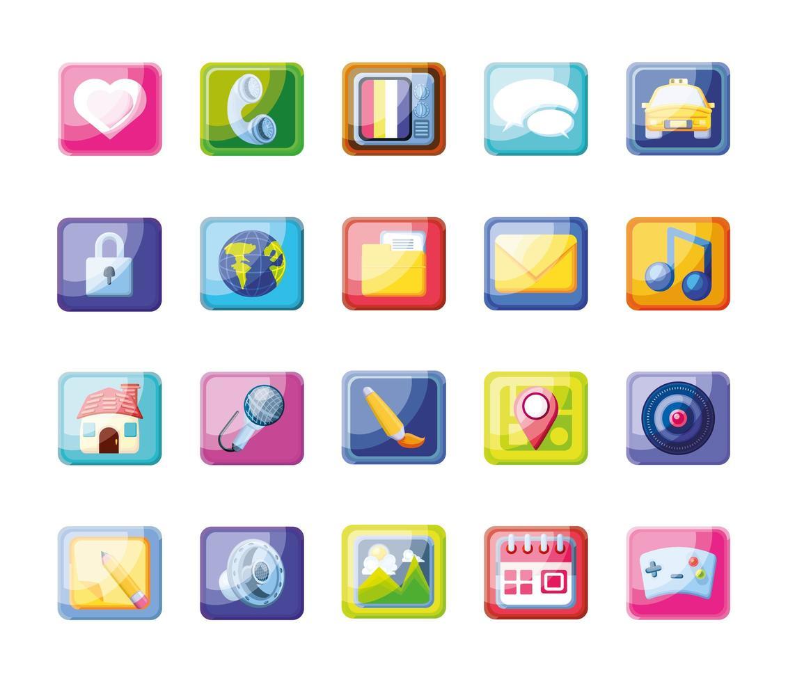 iconos de aplicaciones móviles modernas vector