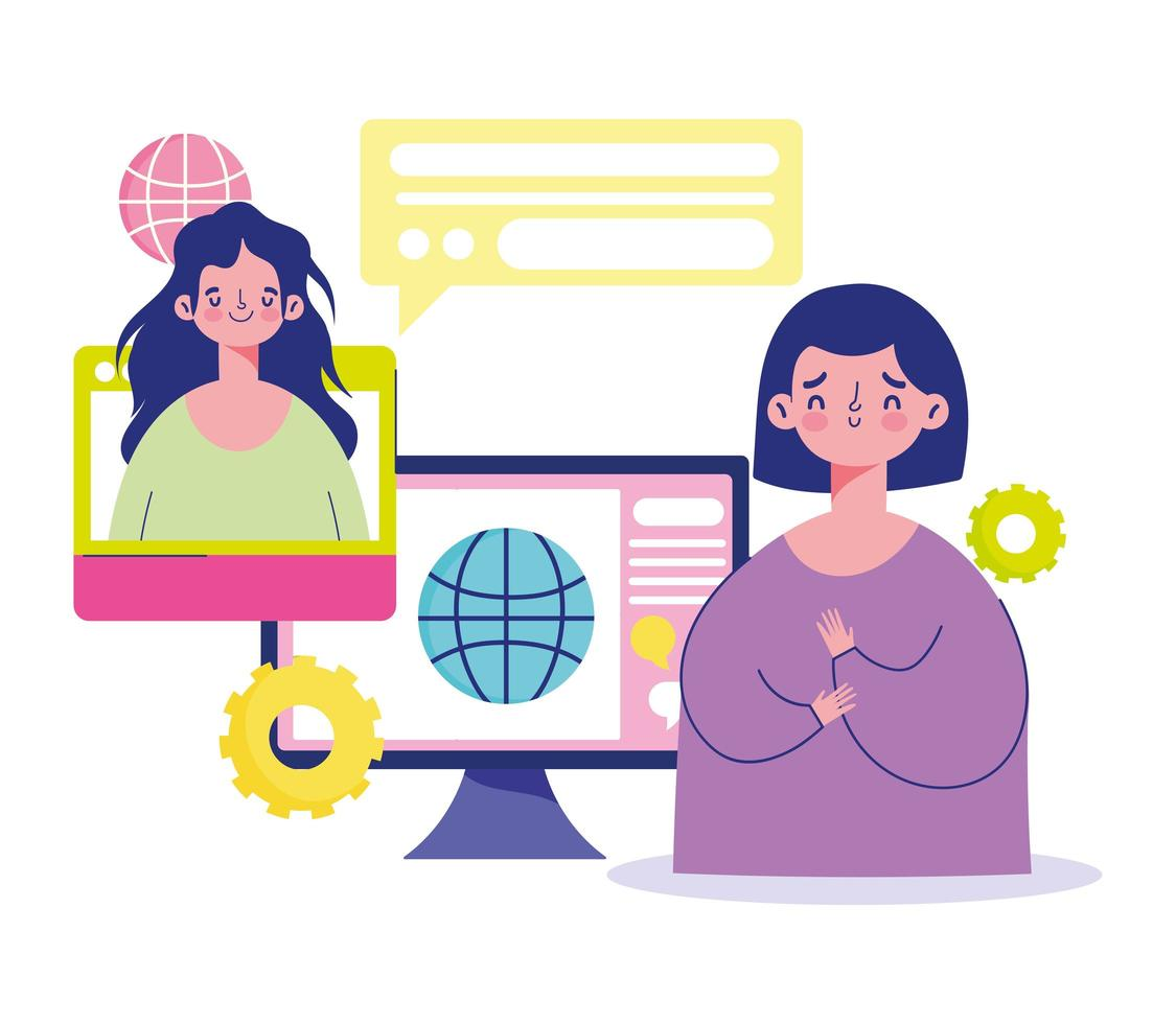 colaboración de personas a través de Internet. vector