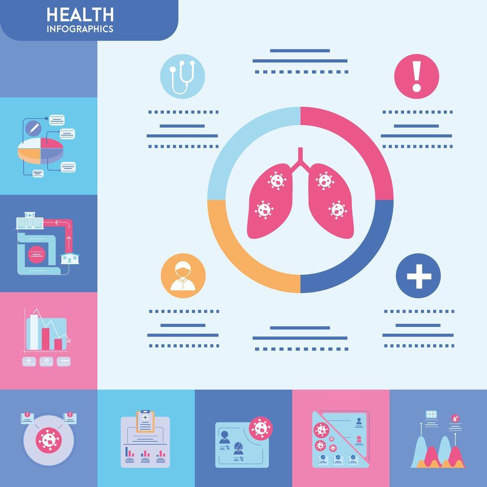 infografía con conjunto de iconos de salud vector