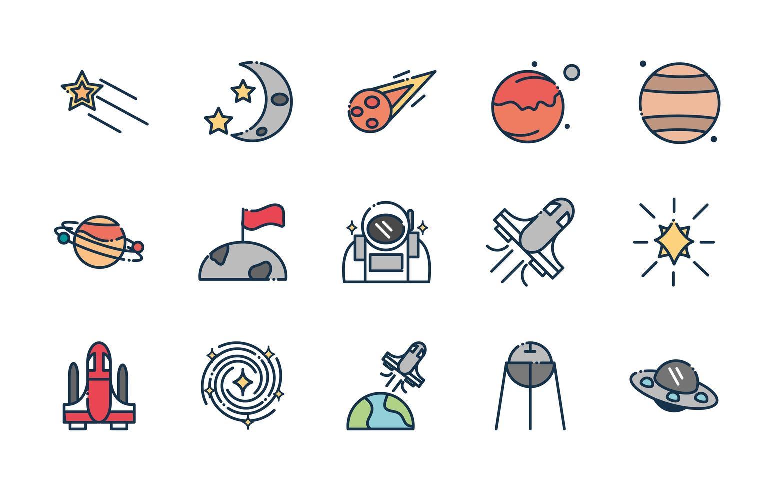 paquete de iconos de astronomía y ciencia espacial vector