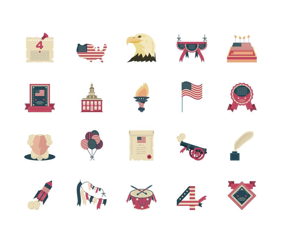 iconos del día de la independencia vector