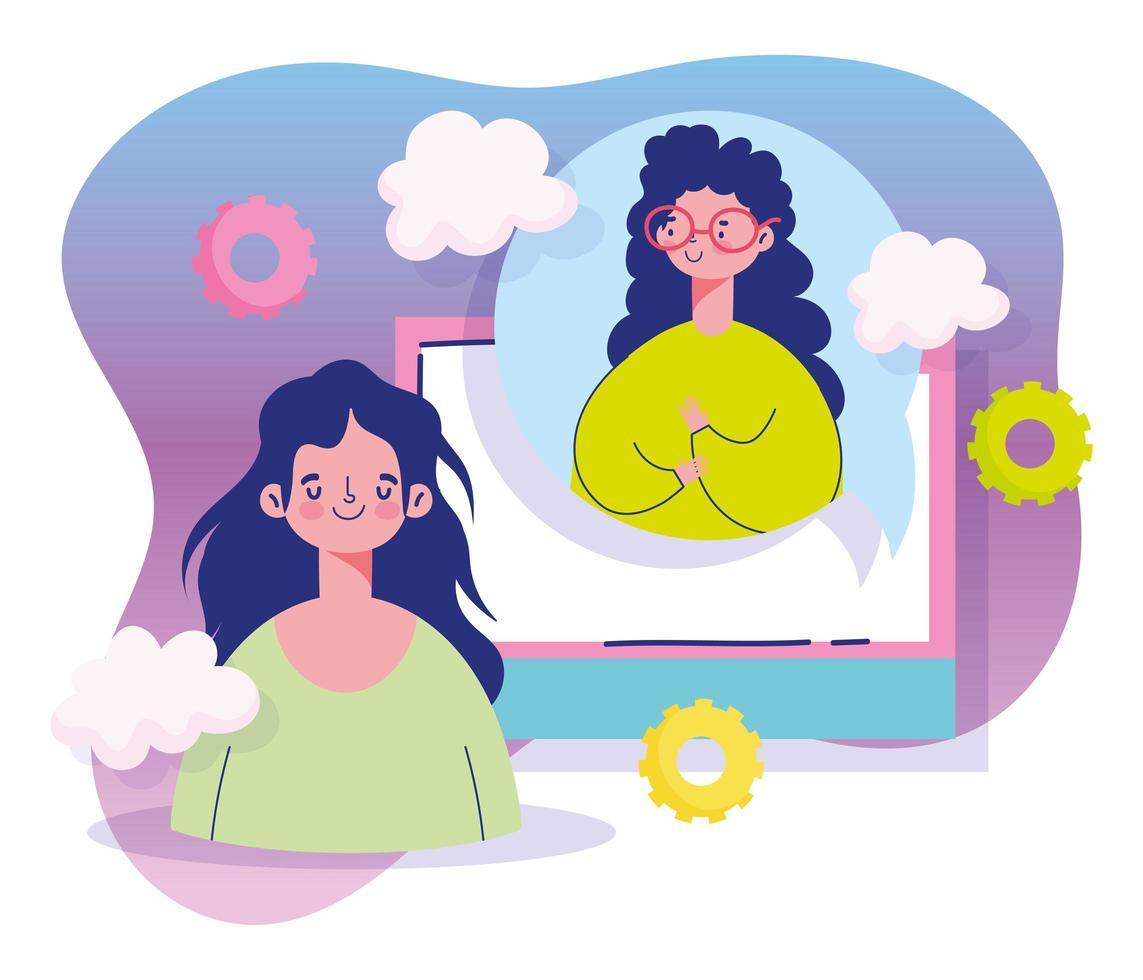 mujeres jóvenes socializando vector