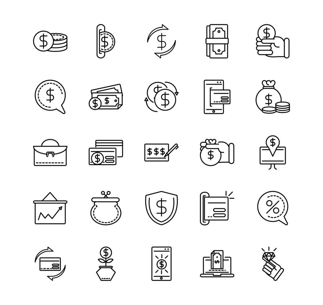 conjunto de iconos de arte de línea de negocios y moneda vector
