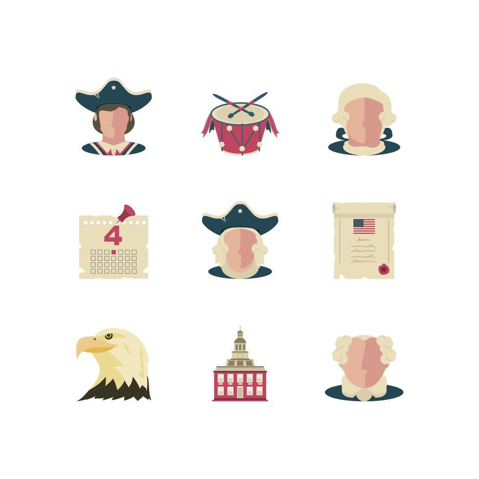 día de la independencia conjunto de iconos vector