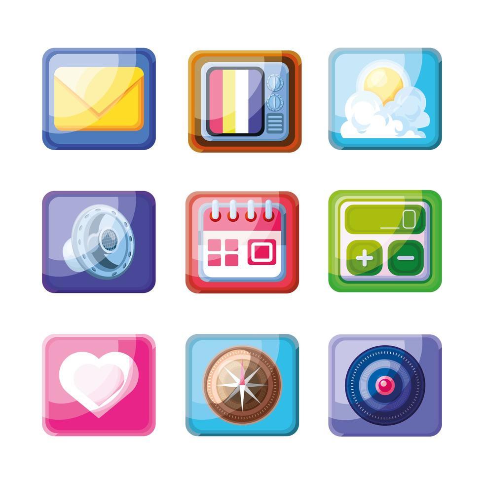 colección de iconos de aplicaciones móviles vector