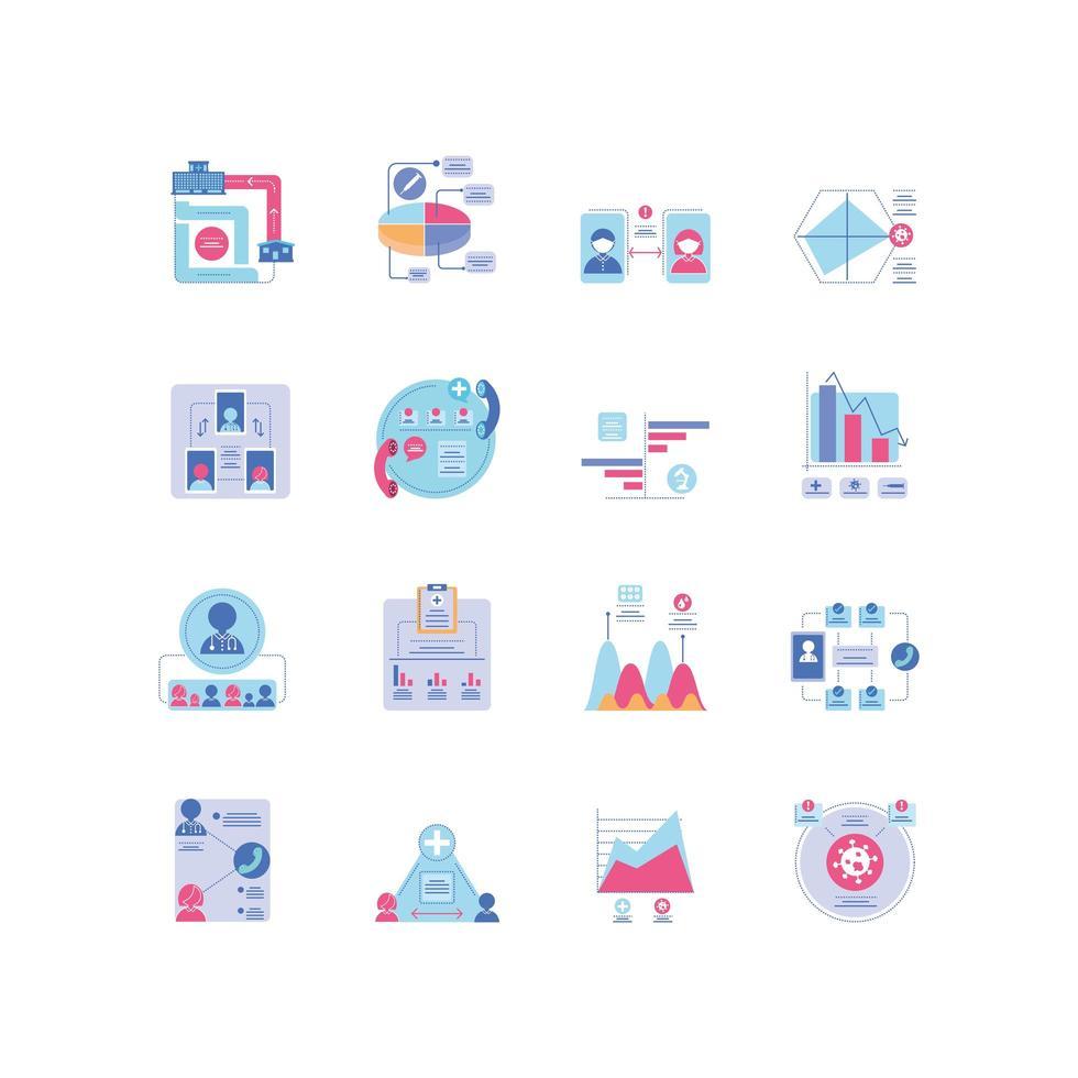 conjunto de iconos de infografías de salud vector
