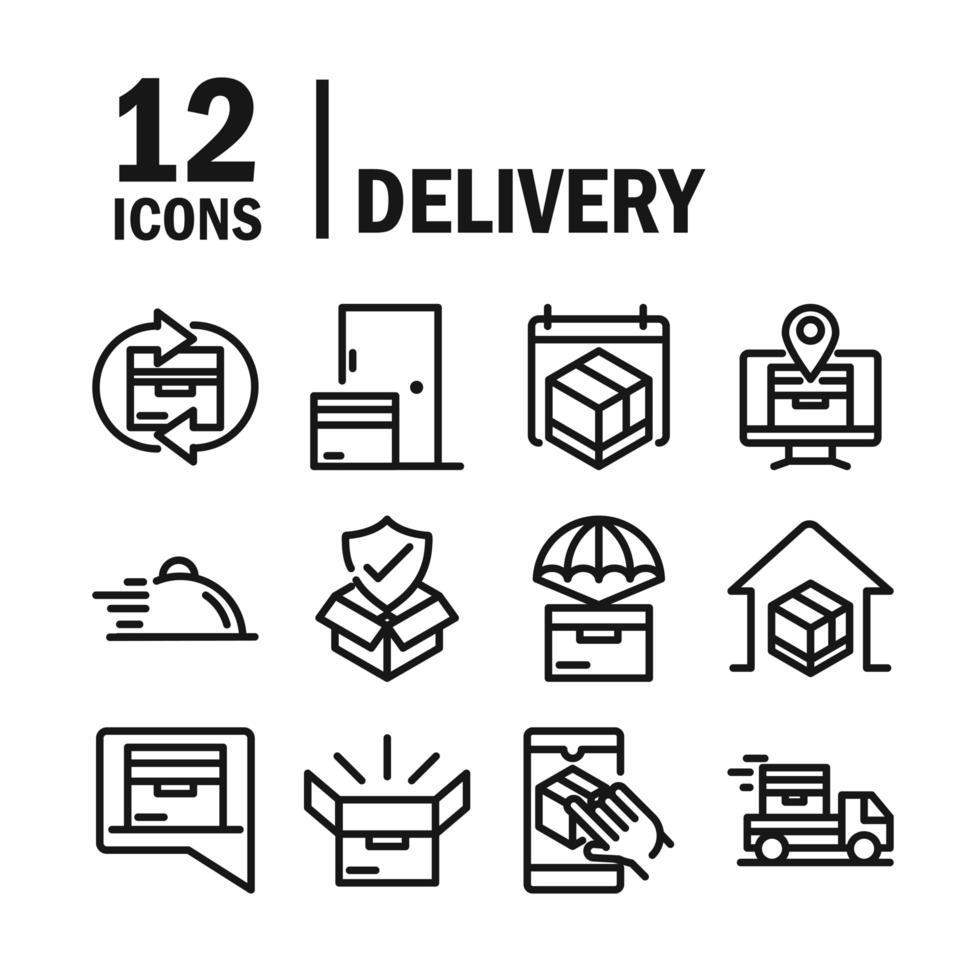 iconos de estilo de línea de entrega y logística vector