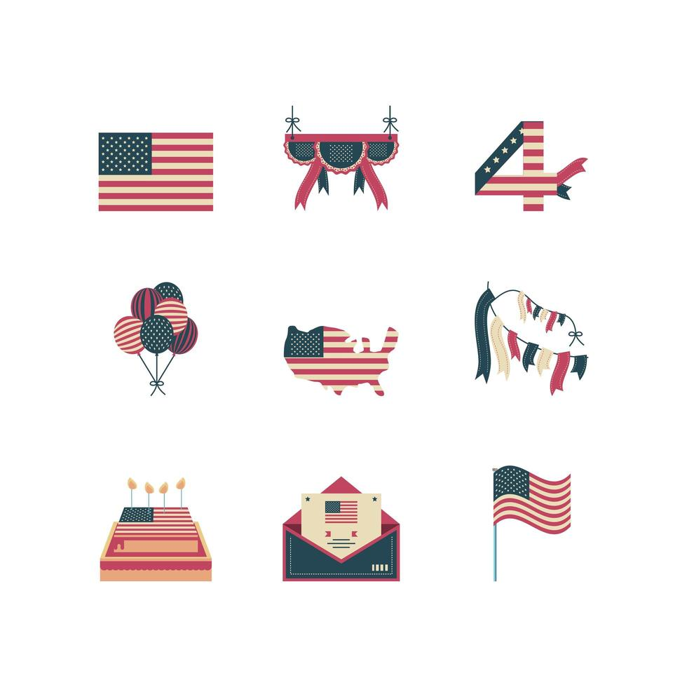 Independence day icons set vector