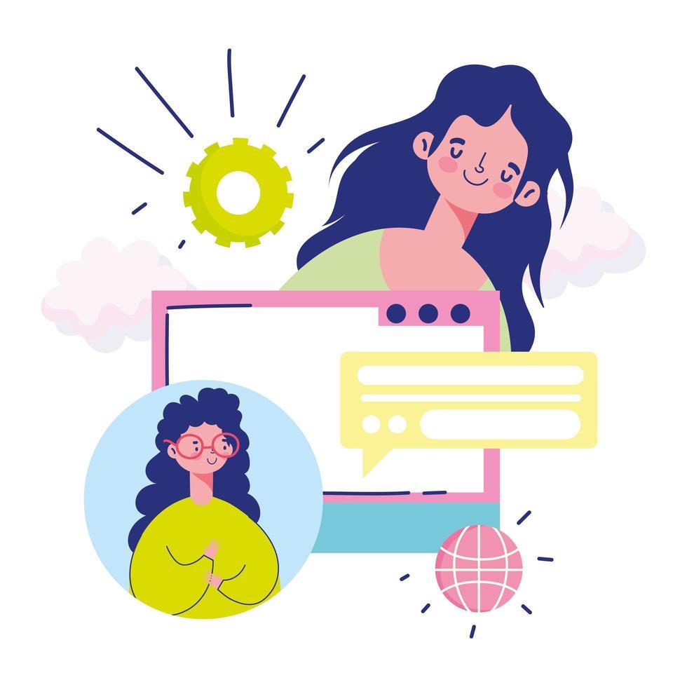 mujeres jóvenes reunidas en línea vector