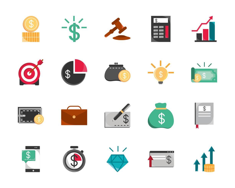 surtido de iconos de finanzas y economía vector