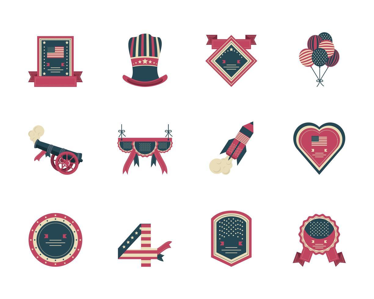 colección de iconos del día de la independencia vector