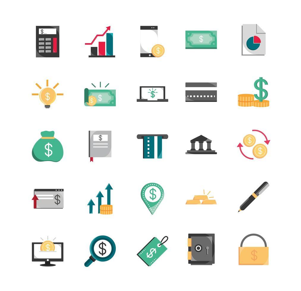 conjunto de iconos de finanzas y economía vector
