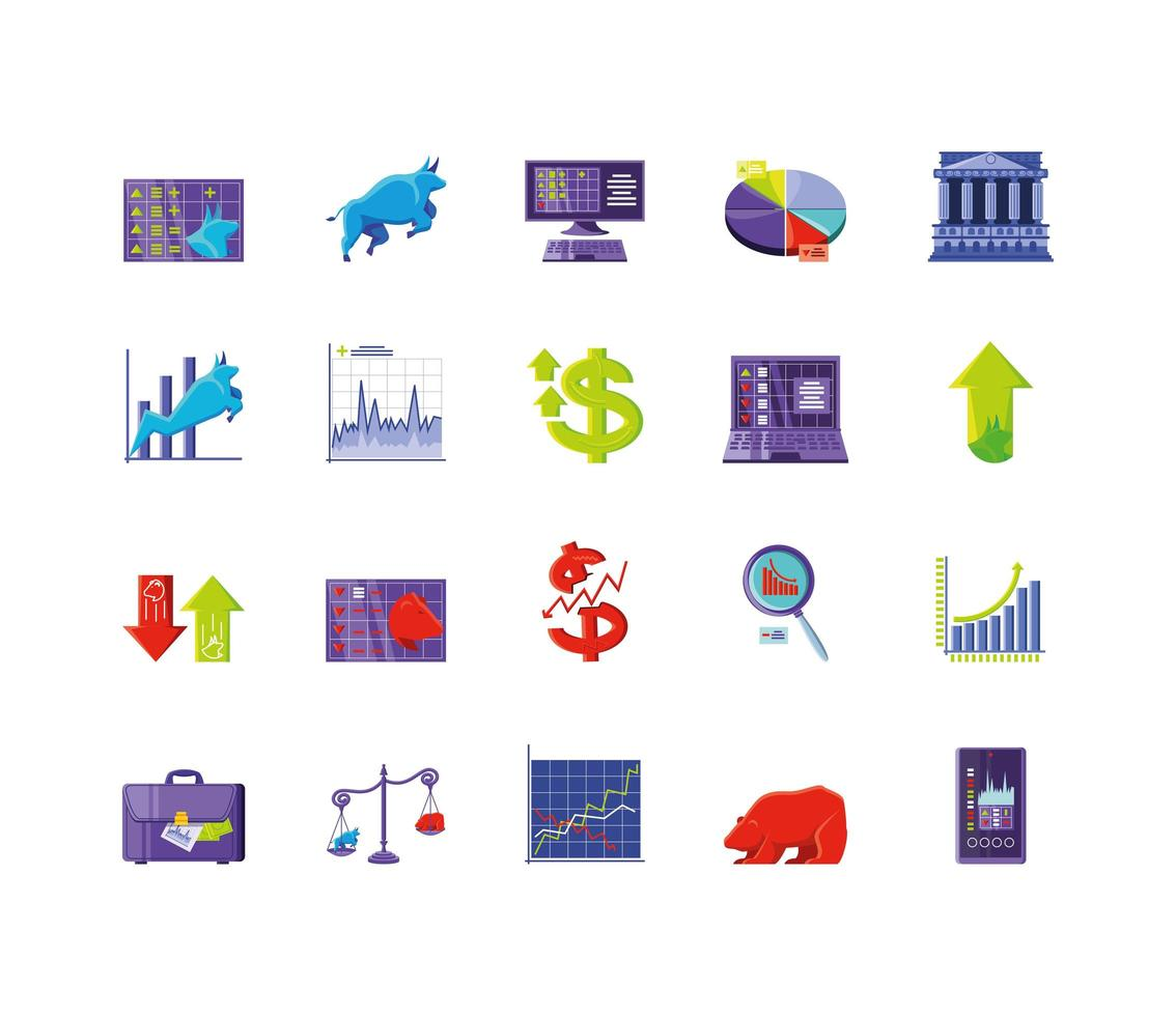 colección de iconos de mercado de valores vector