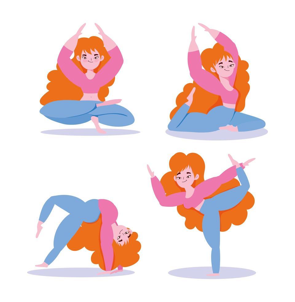 chica haciendo ejercicios de yoga en diferentes poses vector