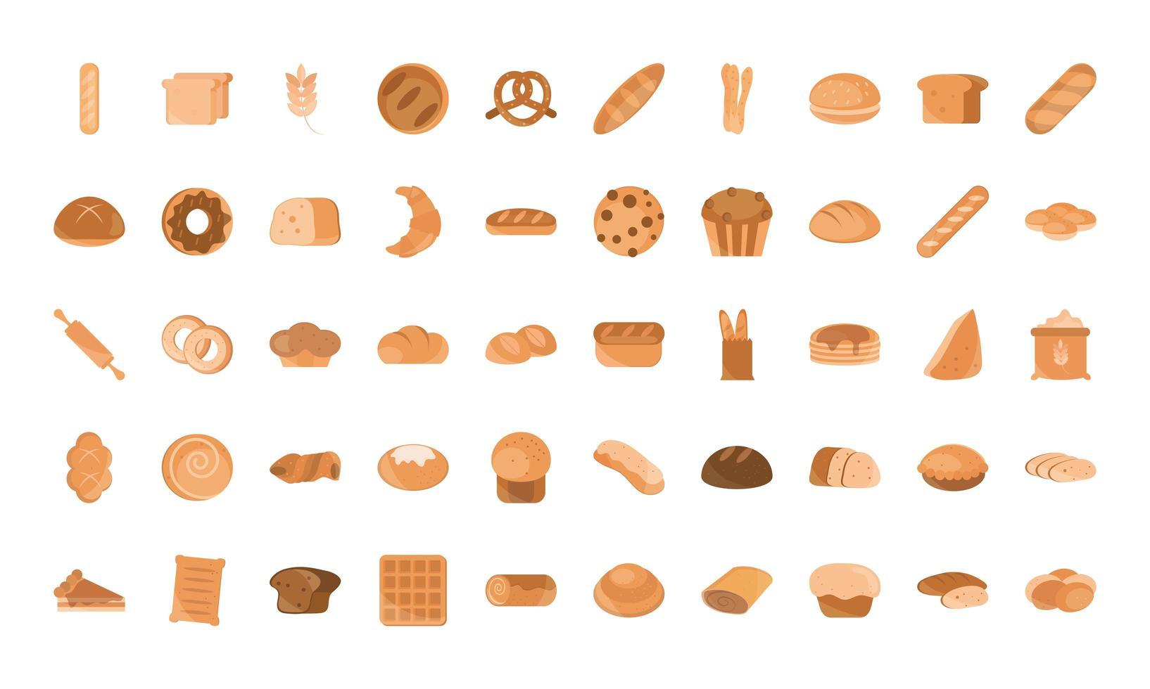 conjunto de iconos de estilo plano de panadería y productos rechazados vector