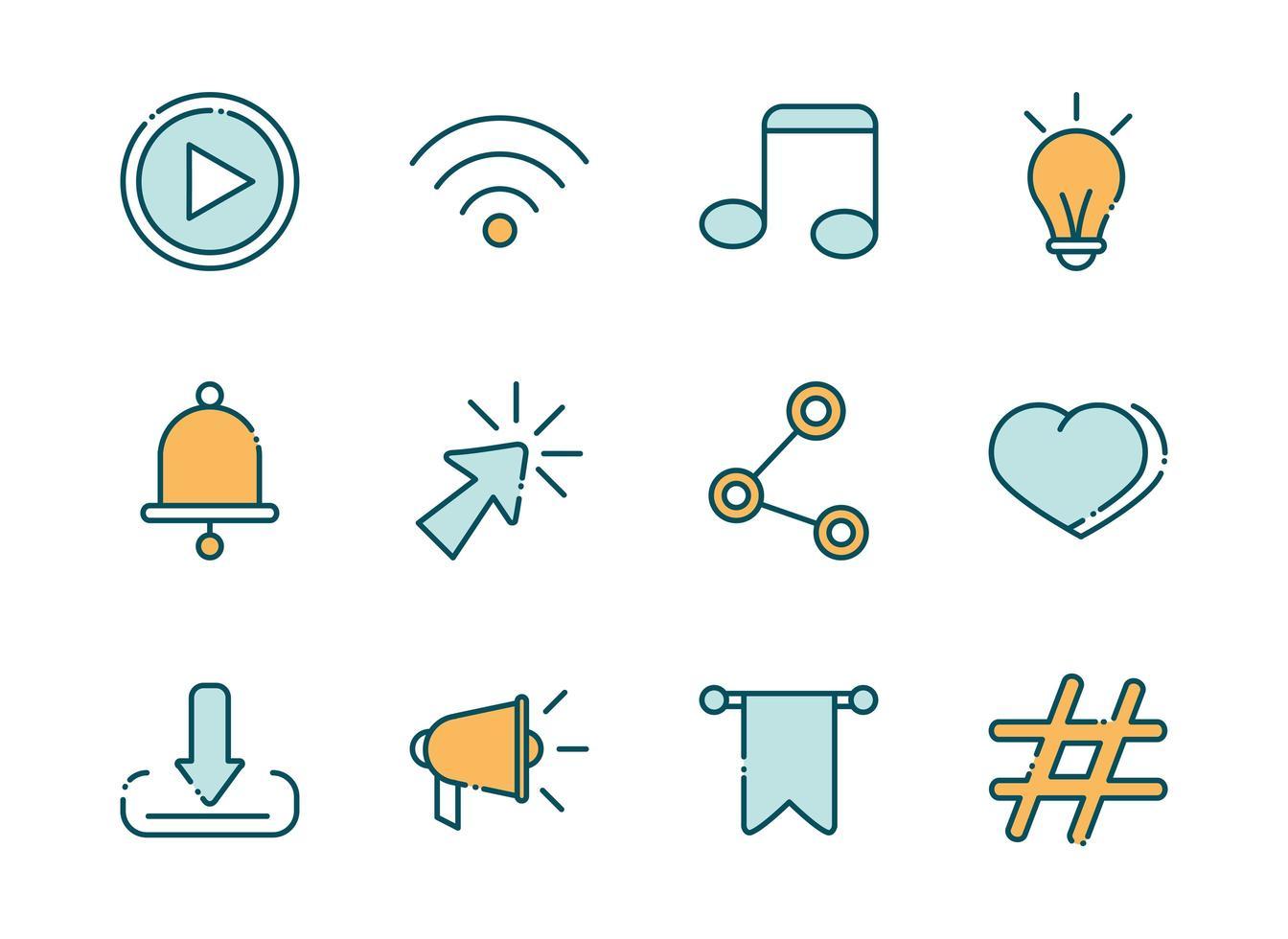 paquete de redes sociales y línea de red e iconos de relleno vector