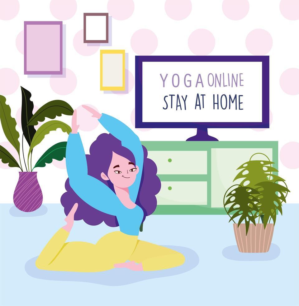 Girl stretching in floor  vector