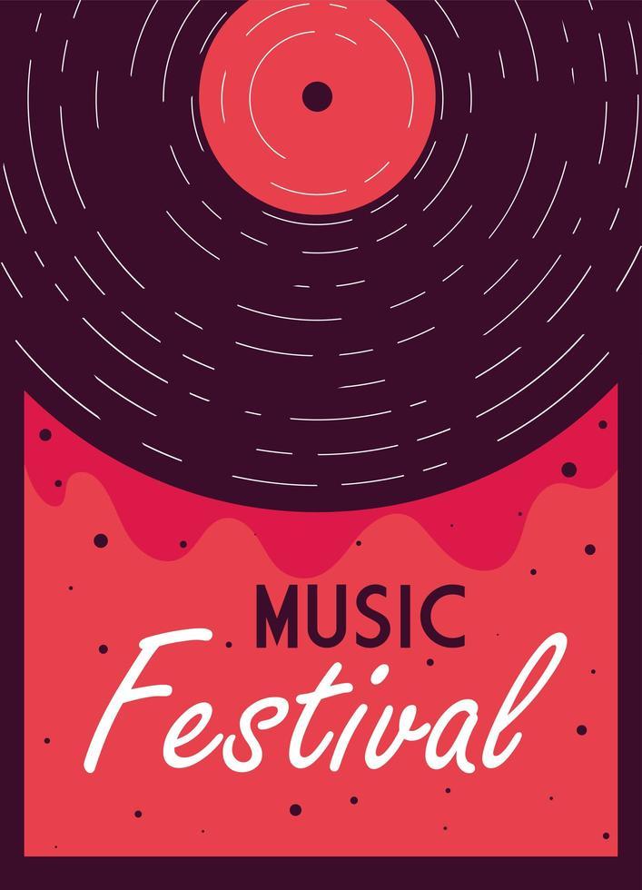 cartel moderno festival de música con instrumento musical vector