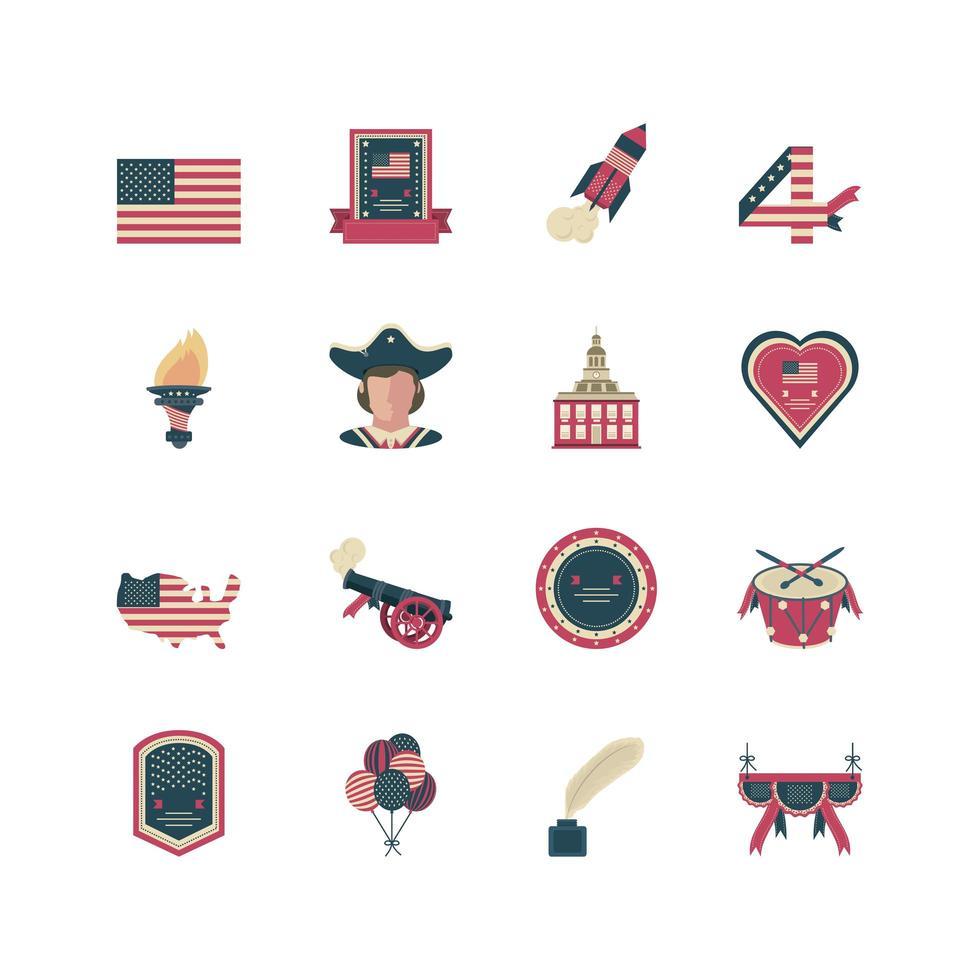 conjunto de iconos del día de la independencia vector