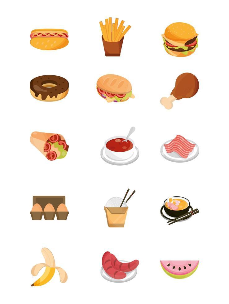 paquete de iconos de estilo plano de comida y frutas de restaurante vector
