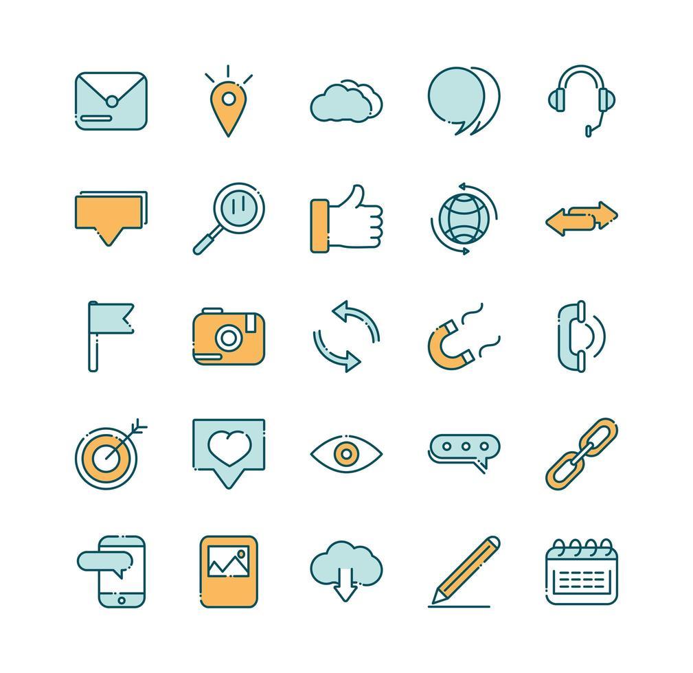 una variedad de iconos de líneas y rellenos de redes sociales vector