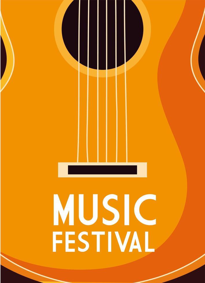 cartel de festival de música con instrumento musical de guitarra vector