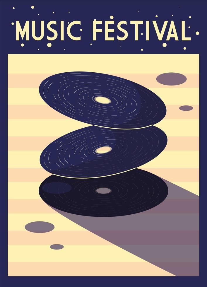 cartel del festival de música con instrumentos musicales vector