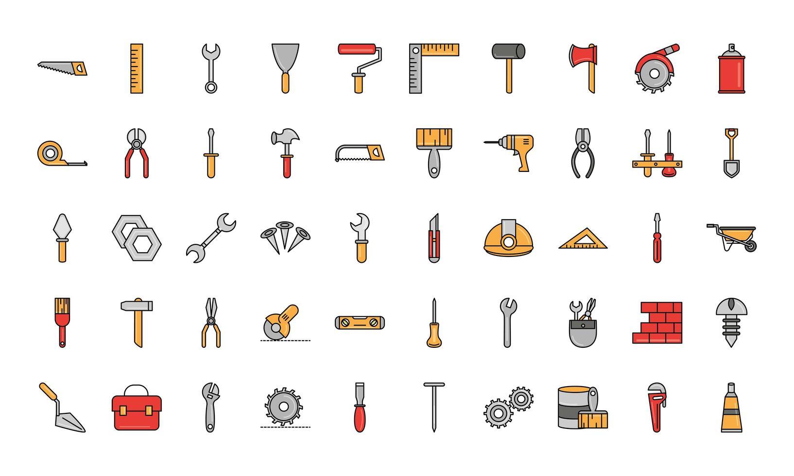 Reparación de herramientas y equipos de construcción, línea y conjunto de iconos de relleno vector
