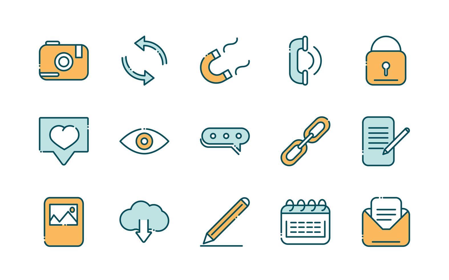 colección de redes sociales y líneas de red e iconos de relleno vector