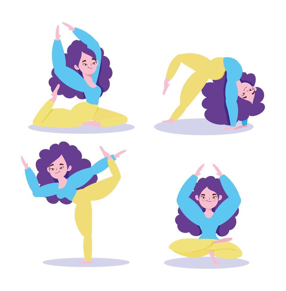 figuras de mujer haciendo yoga vector