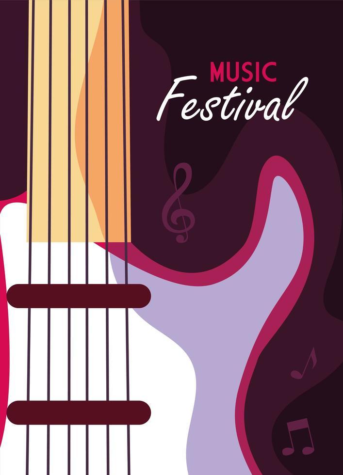 cartel festival de musica con guitarra electrica instrumento musical vector