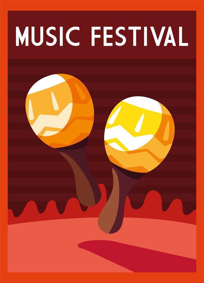 cartel festival de musica con instrumentos musicales maracas vector