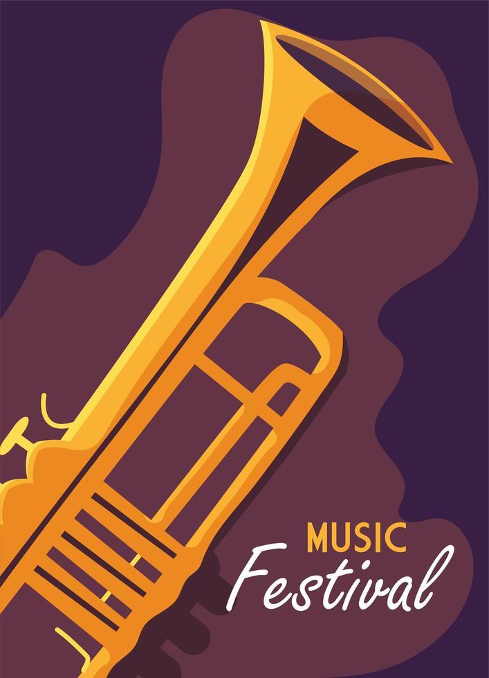 cartel del festival de música con instrumento musical de trompeta vector