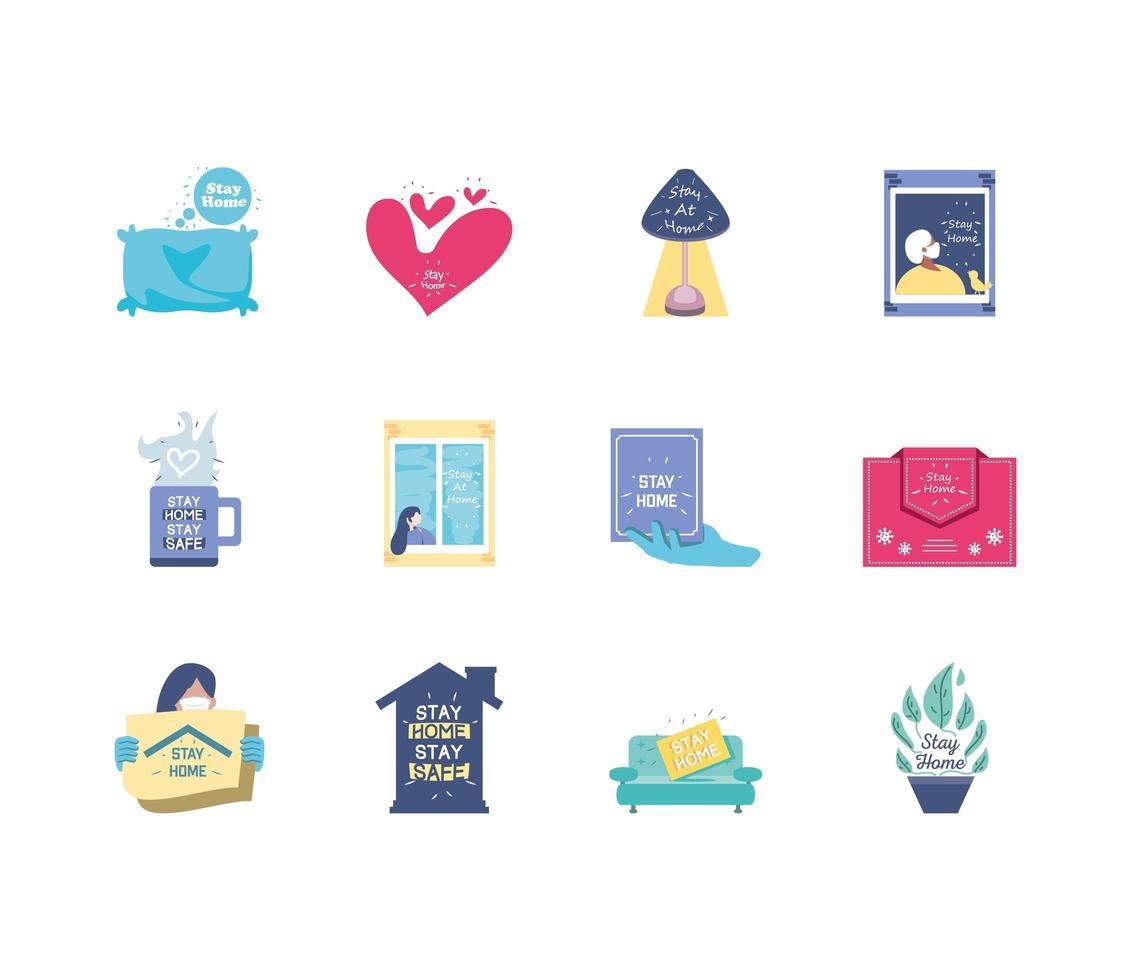 conjunto de estancia en casa, iconos de prevención de coronavirus vector