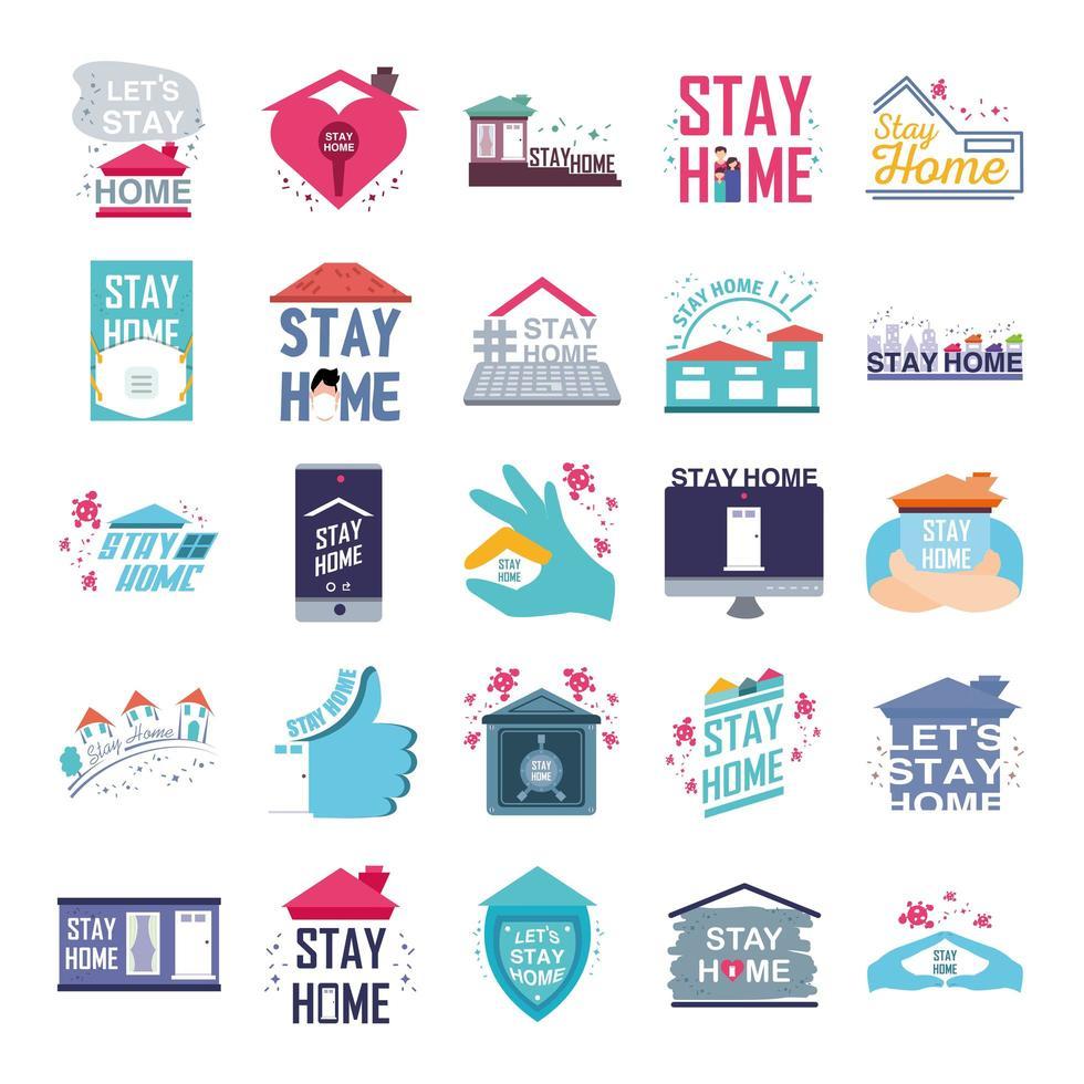 prevención del coronavirus y permanecer en casa iconos vector