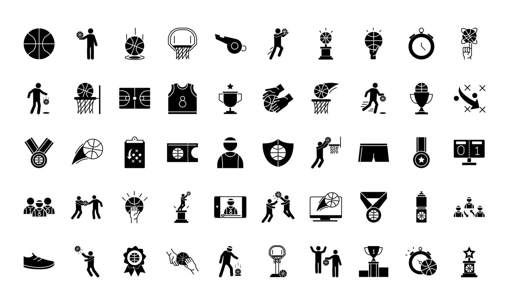 colección de iconos de estilo de silueta de juego de baloncesto vector