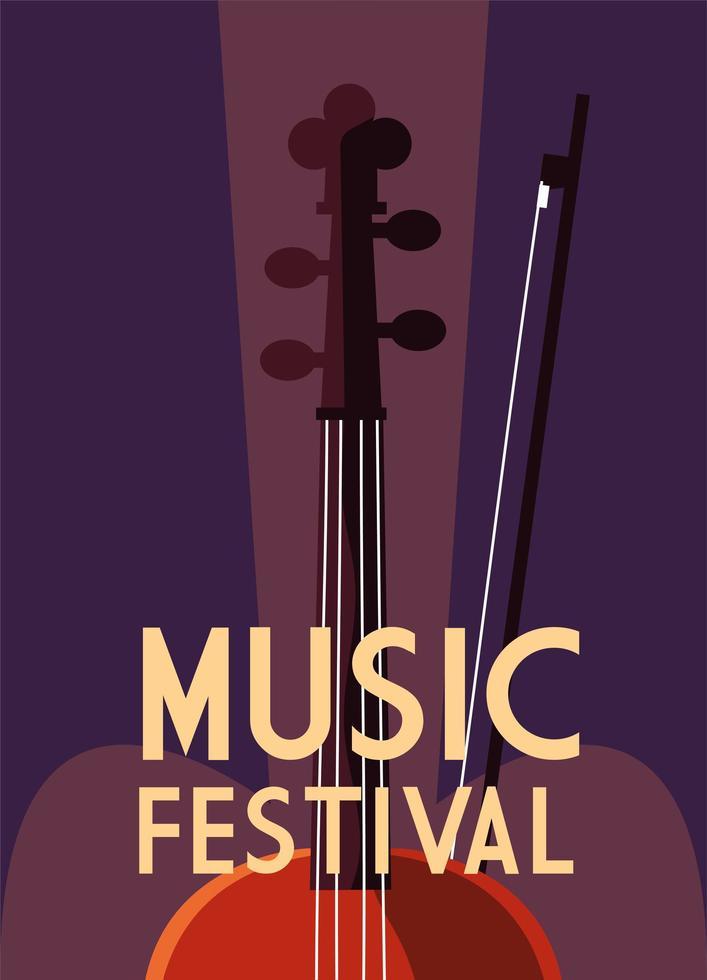 cartel de festival de música con violín de instrumentos musicales con letras vector