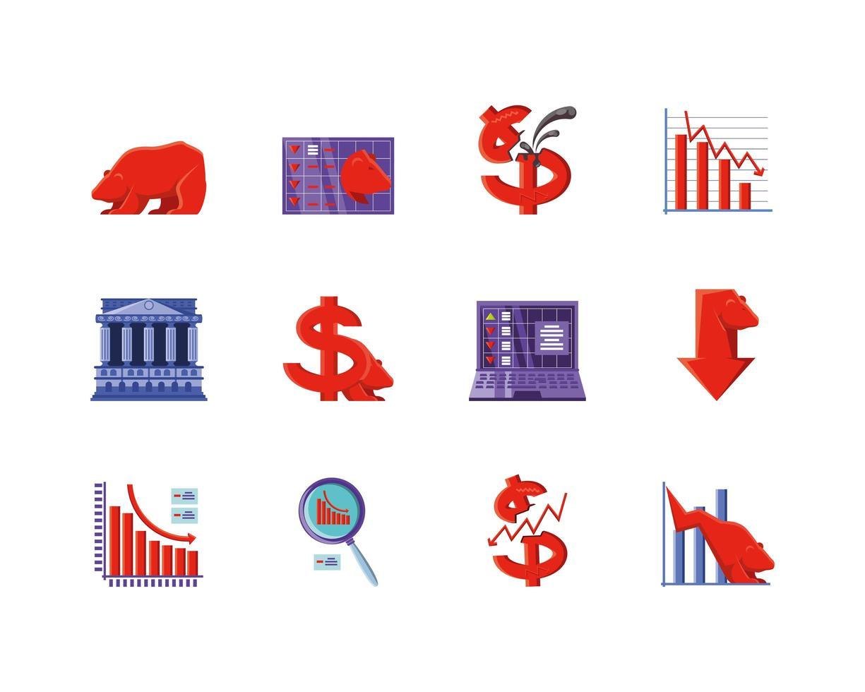conjunto de iconos de mercado de valores vector