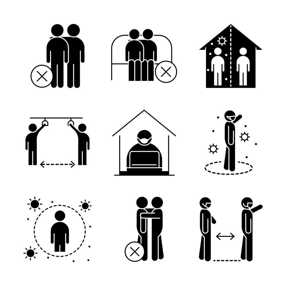 ícones de distanciamento social de coronavírus vetor