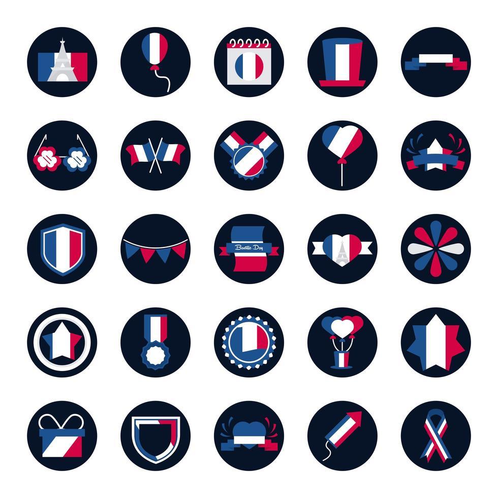 paquete de iconos franceses vector