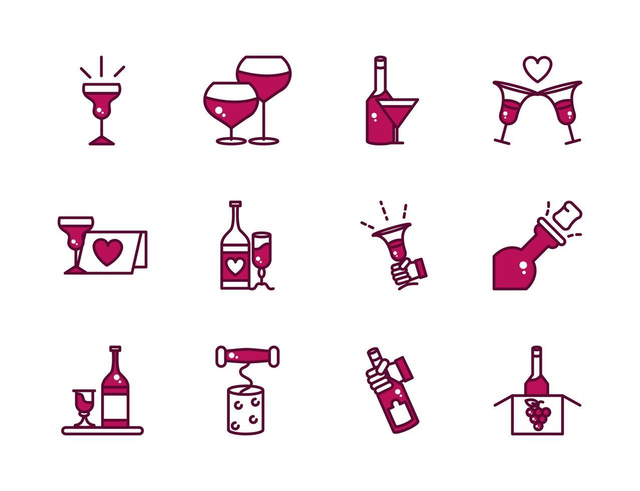 línea de celebración de vino y bebida y conjunto de iconos de relleno vector