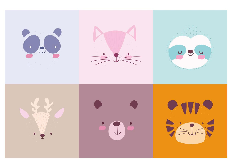 colección de lindas caras de animales mezcla de fondo vector